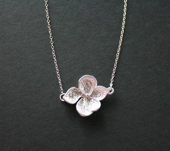 Flower necklace  silver  wedding jewelry bridal by DelicacyJ, $23.00