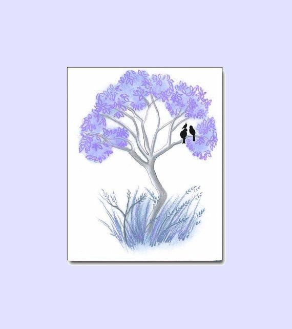 Purple Tree Baby Nursery Art Print 8x10, Baby Nursery Decor, Tree and Birds Kids Wall Art, Baby Nursery, Kids Baby Nursery Decor Wall Art
