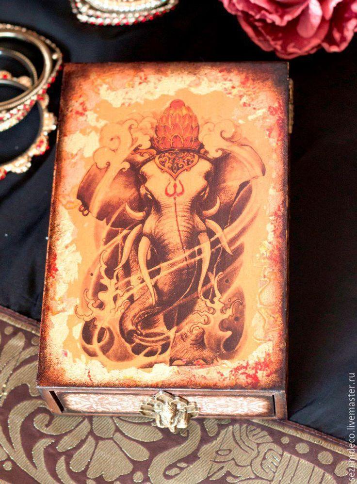 """Купить Шкатулка """"Ганеша"""" - старое золото, индия, Ганеша, восточный стиль, орнамент"""