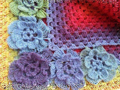 Трех-ярусный цветок из кауни для шали.The two-storey flower of Kaun for ...