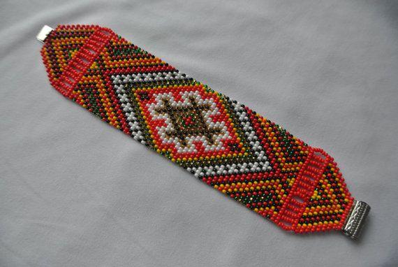 Red bracelet beaded bracelet ethnic jewelry by HardangerUA on Etsy