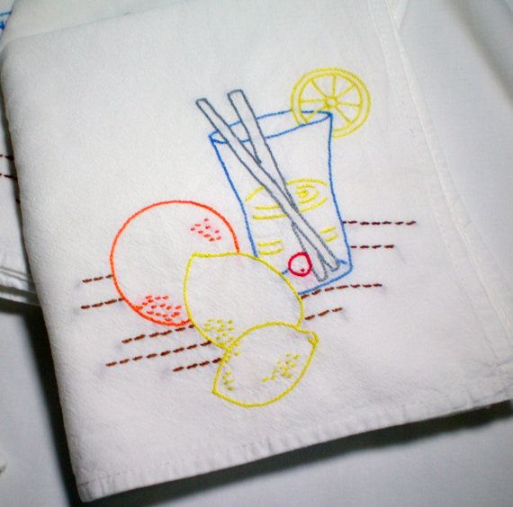 Refreshing Lemonade - Hand Embroidered Dish Towel          from www.etsy.com/shop/CraveCute