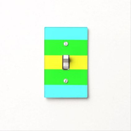 Yellow Green Blue Wide Stripes by Shirley Taylor Light Switch Cover - blue gifts style giftidea diy cyo