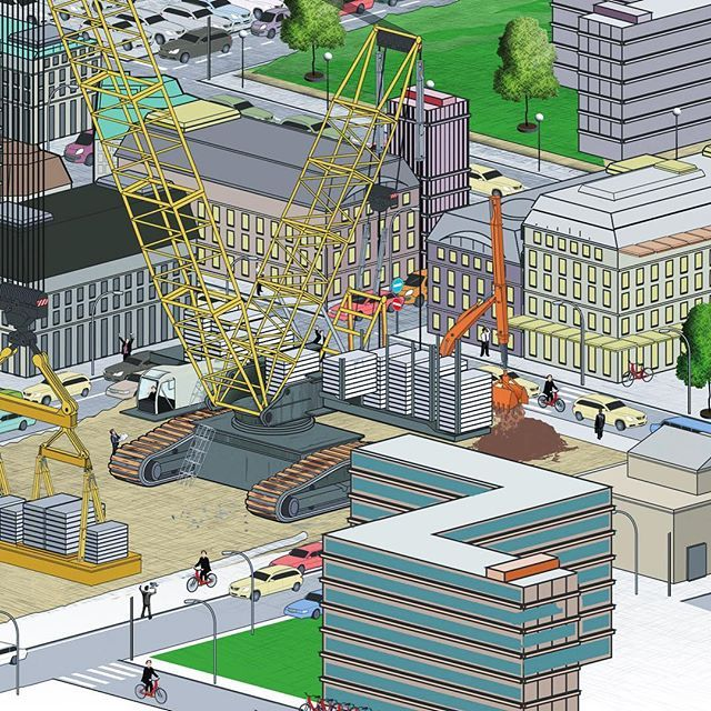 About city construction ---------------------------------------------------- #illustration #illustrate #illustrationartist #infoillustration #informationgraphic #infographic #editorial #magazine #studiotopie #handelskammer #handelskammerhamburg #evolution #logistics #railway #trains #building #economy #railwaylogistics #future #connected #city #construction #cranes #monstercrane #work #cranework #architecture