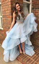 Two Piece Prom Dresses A-line Sparkly High Low Prom Dress Long Evening Dress JKL1100