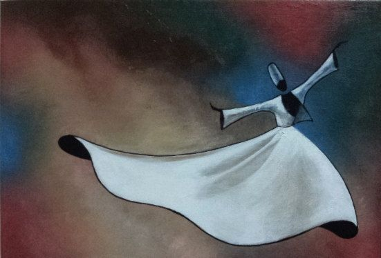 Original Acrylic Painting, Whirling Dervish, Free Shipping, spinning dervish, rumi, semazen.