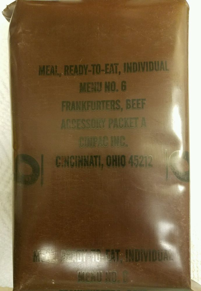 Vintage MRE Menu 6 Frankfurters Beef US Military Ration Meal Ready To Eat