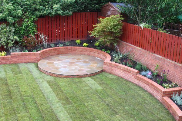 Curved Flower Bed Design with Circular Patios - LJN Blog Posts - Landscape Juice Network
