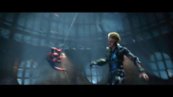 俊敏な速さで戦うスパイダーマンとグリーンゴブリン。