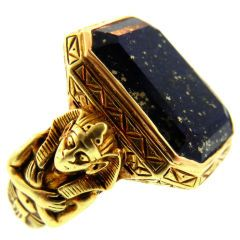 Late Victorian Egyptian Revival Gold Ring with Lapis Lazuli  American  1880