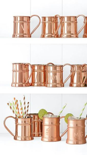 "Copper mugs for a wedding favor? Full of drink of choice with ""place card"" straws. Upon guests being seated, go right into toasts?"