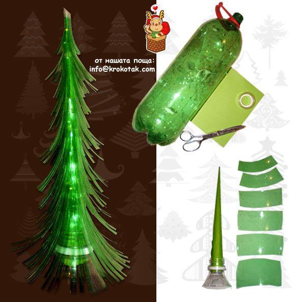 Albero di Natale dal riciclo di una bottiglia di plastica #upcycling