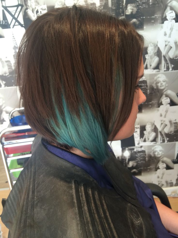 Teal Green And Deep Brown Ombr 233 Sliced Bob I Love My