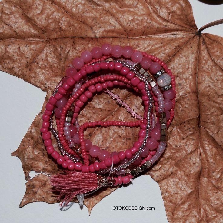 Купить Набор стильных браслетов разной ширины кораллового цвета в интернет магазине бижутерии, аксессуаров и мужской одежды - Otokodesign.com