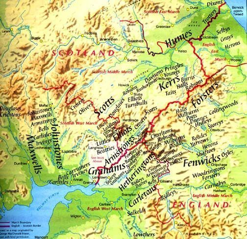 """NOT EVERY SCOTTISH ANCESTOR WAS A """"HIGHLAND SCOT"""" - some of them lived a wild and rough life on horseback in the Borders Region as Border Reivers. Check to see if your family name is here. They were a very interesting people and their story should be known and remembered. (Border Reiver surname map showing Border Reiver family names from both sides - Scotland & England.)"""