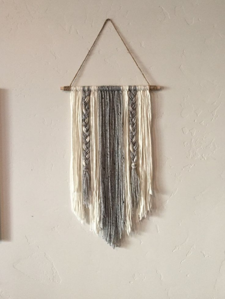 Modern Yarn Wall Hanging Gray and Ivory by BraidedLovelies on Etsy https://www.etsy.com/listing/455134286/modern-yarn-wall-hanging-gray-and-ivory