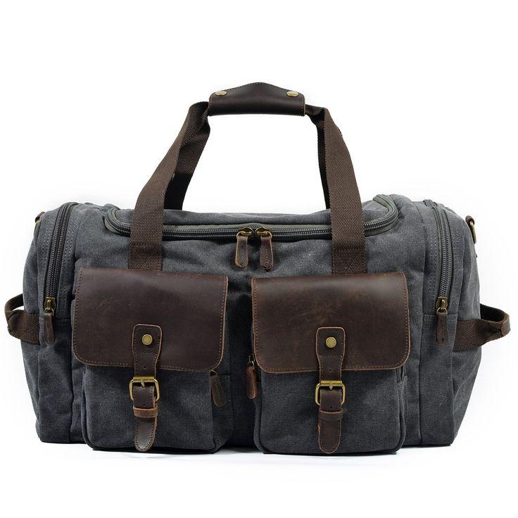 Waxed Canvas Leather Travel Bag Duffle Bag Weekender Bag AF14