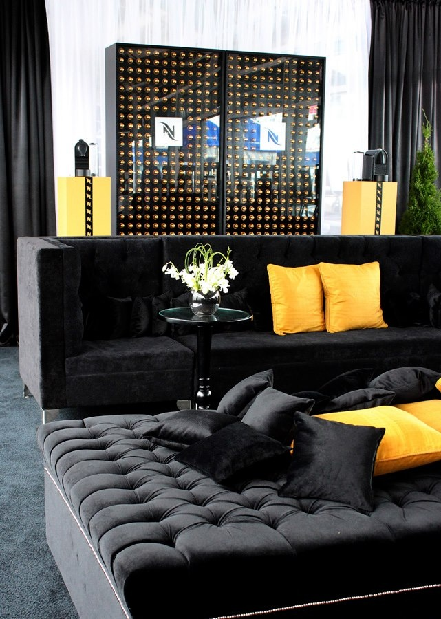 Nespresso Lodge :: Rogers Cup 2012 ∼ Event Planner Gloria Meti Couture Events ∼ Lounge set-up by Joe's Prop House featuring the Black Glam Sectional Sofa, the Moulin Noir Square Ottoman and the Black Round City Pedestal End Tables www.joesprophouse.com