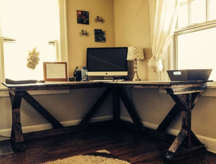 diy corner desk using g white fancy x desk plan perfect with a vintage office chair craft room build it