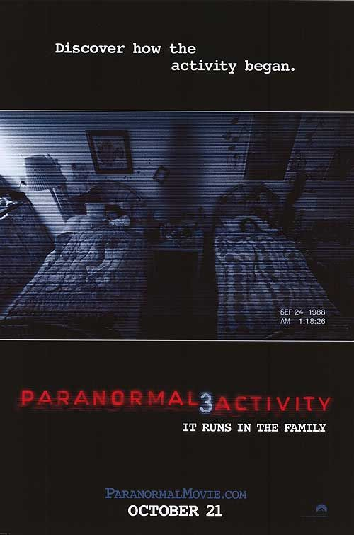 """Paranormal Activity 3"" - (2011)  In 1988, young sisters Katie and Kristi befriend an invisible entity who resides in their home. My favorite from this paranormal series . This is the only P.A. that really gave me a scare especially that camera on the fan panning around the room! Great Halloween watch !"