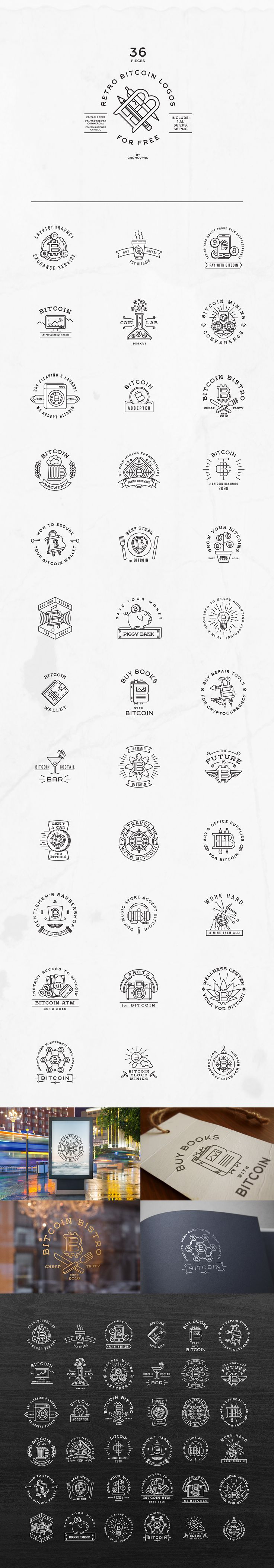 36 Retro Bitcoin Logos (FREE TEMPLATES) on Behance