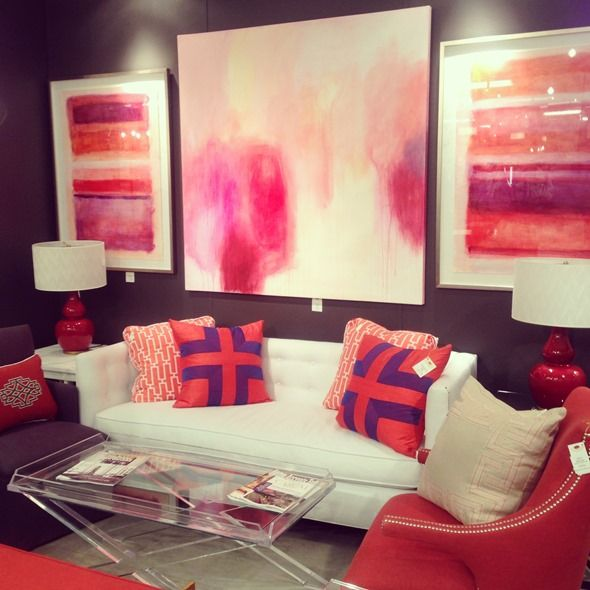 red and purple living room