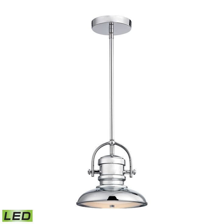 Charleton 1 Light LED Pendant In Chrome And Paint White Glass - Includes Recessed Lighting Kit