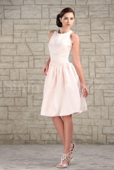 #85005 - Jewel Neckline Sleeveless Satin Dress- Simply Bridal