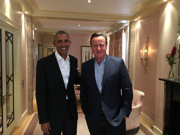 """""""Great to catch up with my good friend Barack Obama today. 7:56 AM · May 27, 2017"""" tweeted former British PM, Savid Cameron. pbs.twimg.com media DA1pPiEW0AAba24.jpg"""