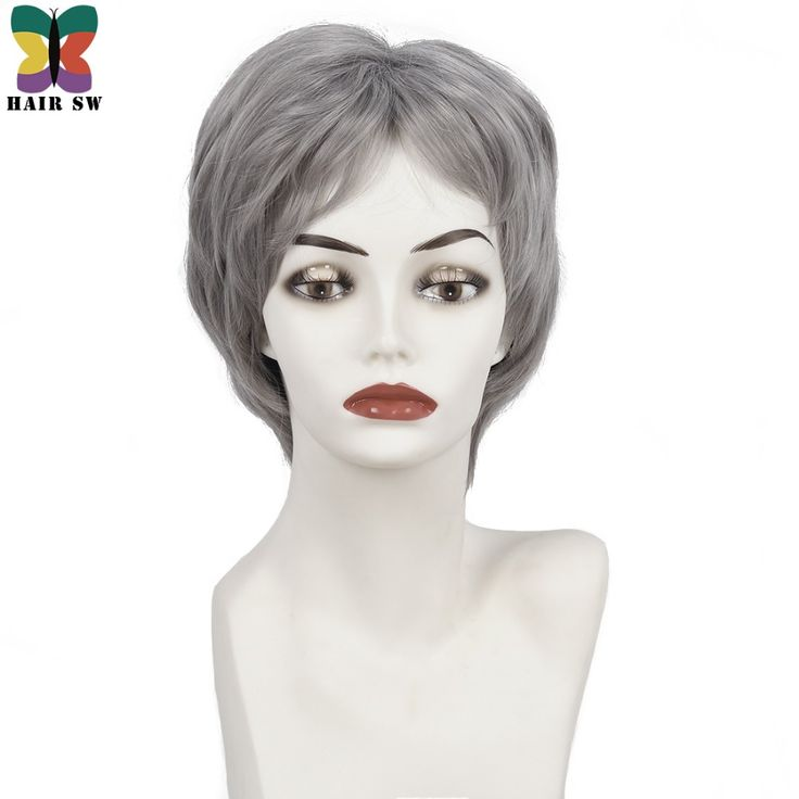 HAIR SW Short Straight Flirty Layered Ladies Wig Synthetic hair Dark Grey Cancer patient wigs with bangs for senior citizens