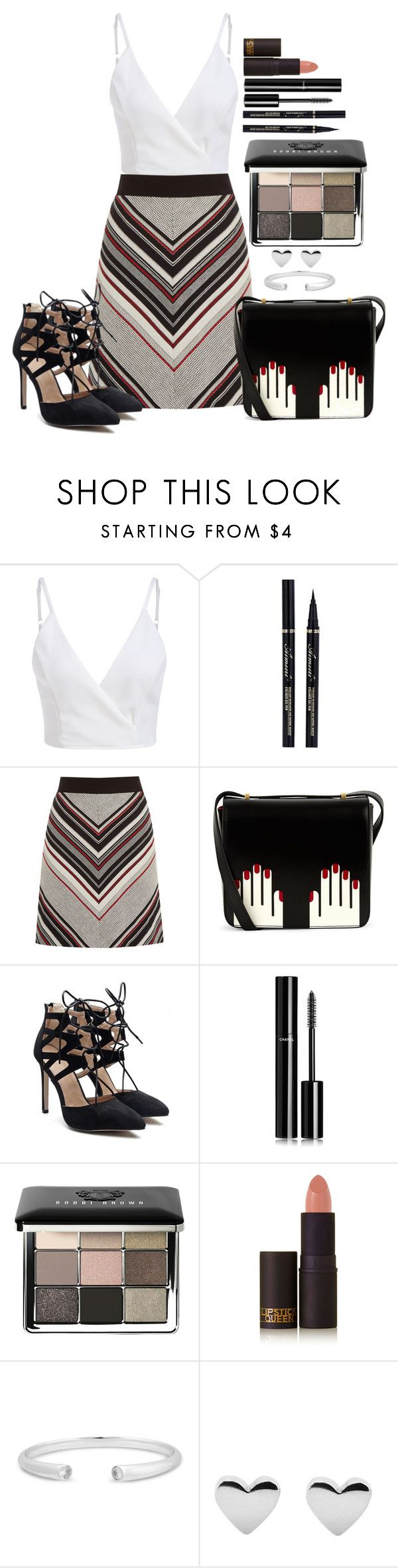 """Untitled #1449"" by fabianarveloc on Polyvore featuring Warehouse, Lulu Guinness, Chanel, Bobbi Brown Cosmetics and Lipstick Queen"