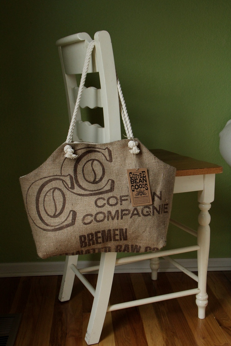 Recycled rice bag purse - Recycled Burlap Coffee Sack Market Tote C Print 40 00 Via Etsy