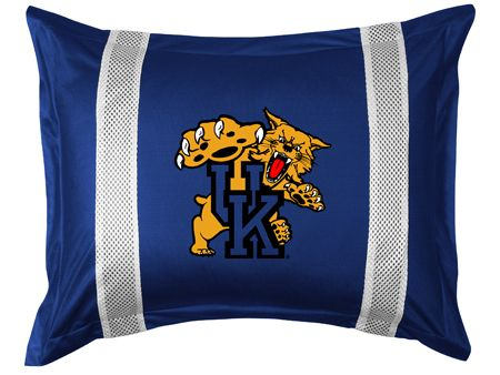 Kentucky Wildcats Sidelines Pillow Sham, starting at  $26.95 at MySportsDecor.com. Great for your bedroom, a kid's bedroom, or a dorm room. http://www.mysportsdecor.com/kentucky-wildcats-sidelines-pillow-sham.html... #kentuckywildcats #kentuckywildcatsbedding #kentuckywildcatssidelinespillowsham