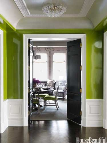 Entry. Design: Christina Murphy. Apple Green Lacquer Walls. housebeautiful.com #lighting