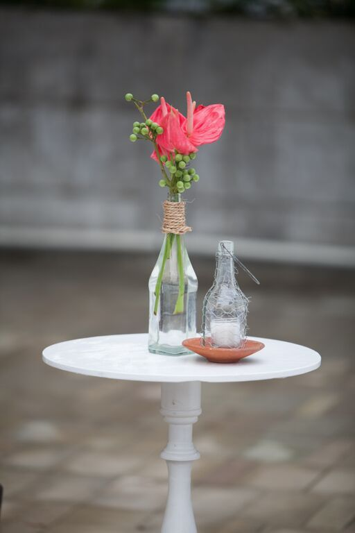 Create floral centerpiece for a unique wedding reception..