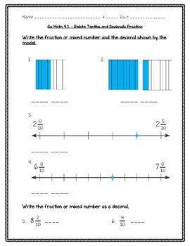 Go Math Practice - 4th Grade - 9.1 Relate Tenths and Decimals ...
