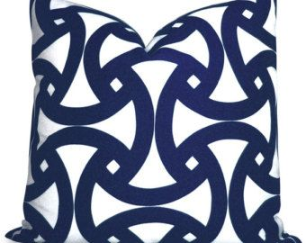Trina Turk Santorini Marine Indoor Outdoor Pillow Cover in Navy Blue and White - Throw Pillow - Accent Pillow - Decorative Pillow