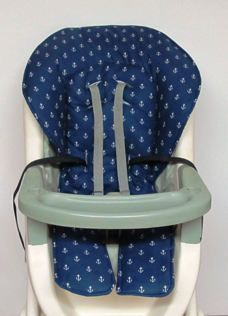 nautical high chair cover, Graco baby accessory, replacement cover, kids and baby, high chair cushion, neutral print, white anchors on navy by sewingsilly on Etsy