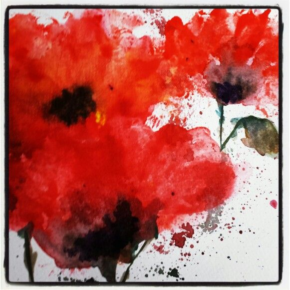 Watercolour poppies - want to paint this for remembrance day                                                                                                                                                                                 More