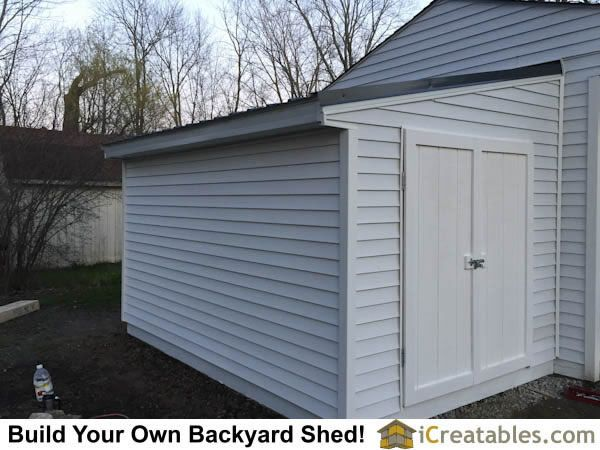 Completed lean to shed attached to existing house or garage wall.