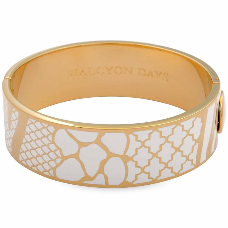 Halcyon Days Cream & Gold Wildlife Bangle