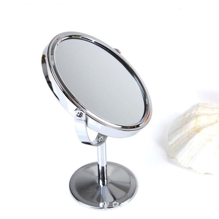 Двусторонняя макияж туалетный столик макияж зеркало постоянный металлические компактные зеркала составляют портативный увеличительное Miroir де макиллаж