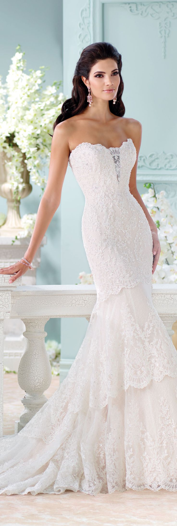 The David Tutera for Mon Cheri Spring 2016 Wedding Gown Collection - Style No. 116212 Eliana  #laceweddingdresses