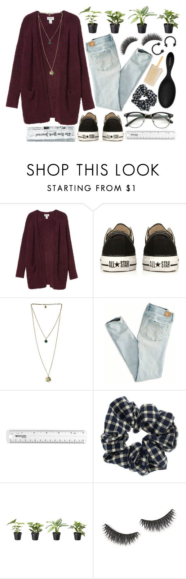 """""""// All the zeros lined up but the number's blocked when you've come undone //"""" by mish-ell ❤ liked on Polyvore featuring Monki, Converse, American Eagle Outfitters, Topshop, shu uemura, Sephora Collection, arcticmonkeys and kneesocks"""