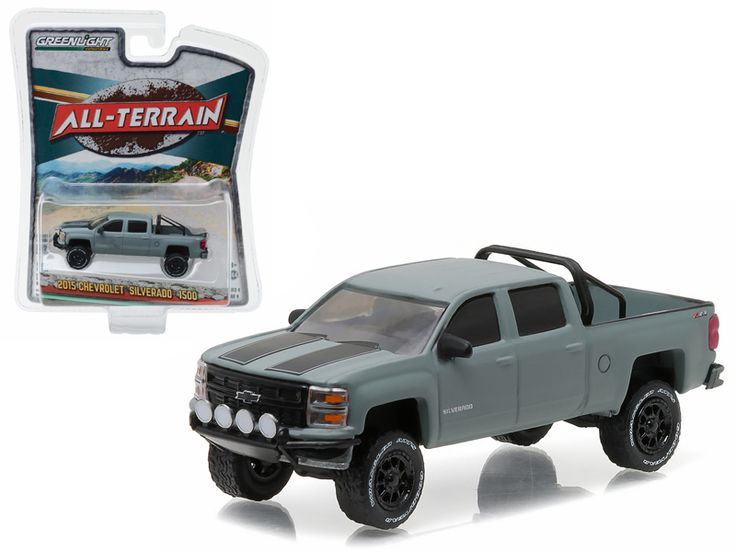 "2015 Chevrolet Silverado 1500 Grey Pickup Truck ""All Terrain"" Series 4 1/64 Diecast Model Car by Greenlight - Brand new 1:64 scale car model of 2015 Chevrolet Silverado 1500 Grey Pickup Truck ""All Terrain"" Series 4 die cast model car by Greenlight. Limited Edition. Has Rubber Tires. Comes in a blister pack. Detailed Interior, Exterior. Metal Body and Chassis. Officially Licensed Product. Dimensions Approximately L-2.75 Inches Long.-Weight: 1. Height: 5. Width: 9. Box Weight: 1. Box Width: 9…"