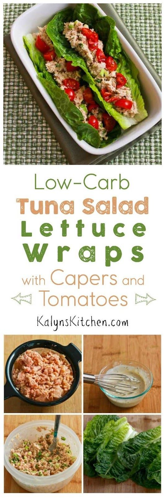 Low-Carb Tuna Salad Lettuce Wraps with Capers and Tomatoes are a perfect low-carb lunch idea; you can even take these to work as a no-heat lunch! [found on KalynsKitchen.com]