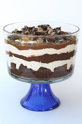 Caramel Brownie Trifle recipe + tutorial from Glorious Treats Blog. (Scroll all the way to bottom of page to find the recipe.)