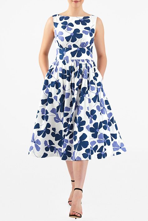 Floral print cotton dobby ruched pleat dress #eShakti