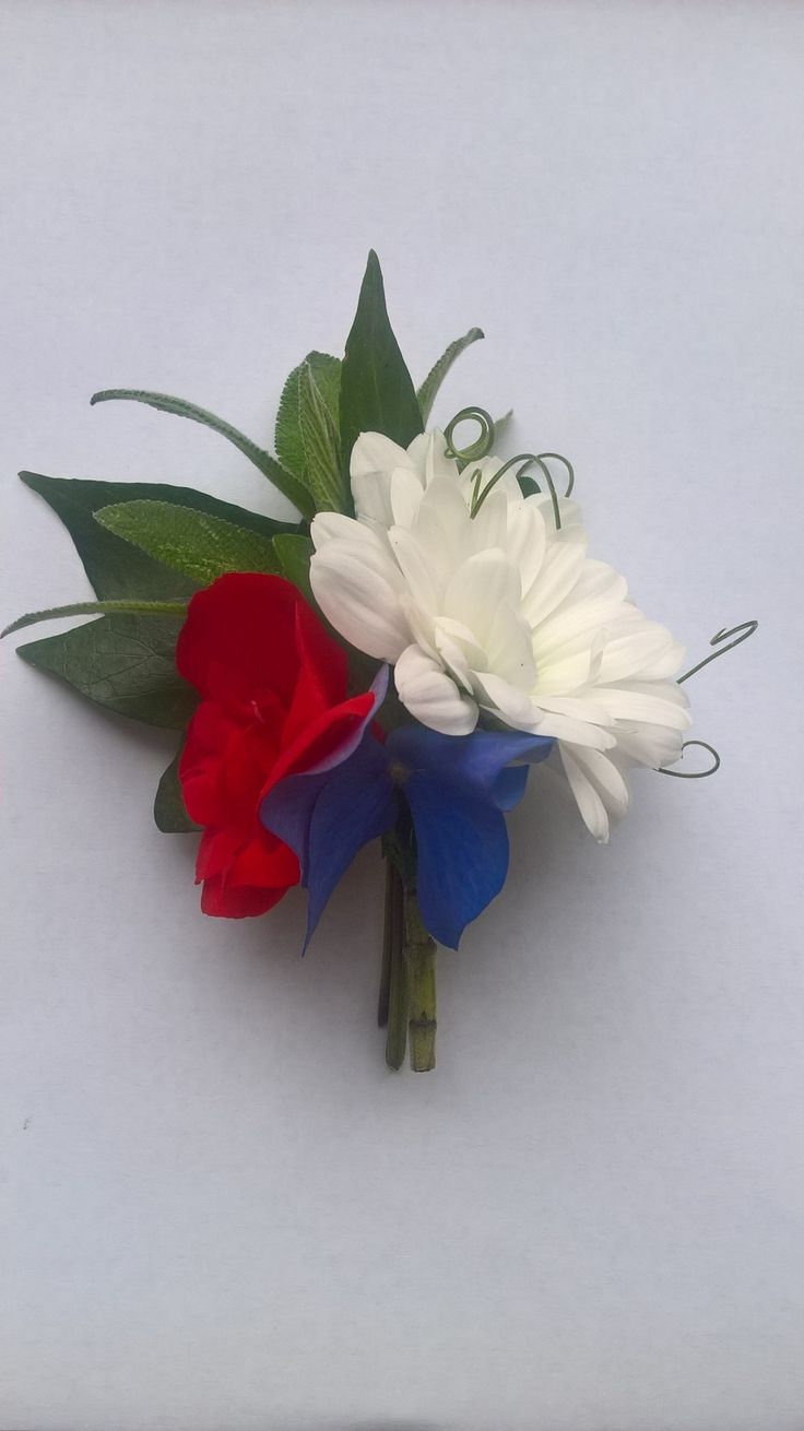 Red white and blue buttonhole. boutonniere.  4th July, flag colours, prom. wedding flowers
