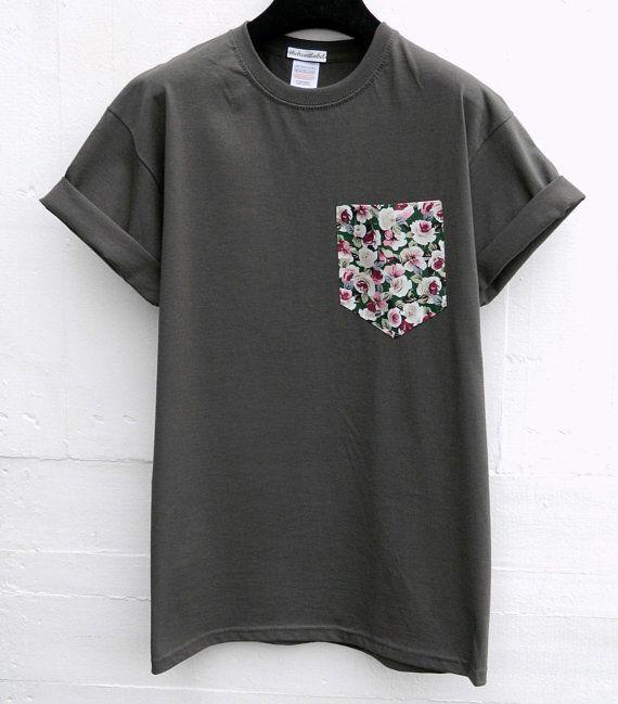 Men S Floral Pattern Dark Grey Pocket T Shirt Men S T Shirt Pocket Tee Unisex Menswear Uk Mens Tshirts Men Floral Shirt Pocket Tee Shirts